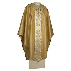 Casula colore oro IHS con croce lana e lurex s1