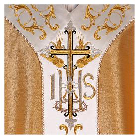 Casula colore oro IHS con croce lana e lurex s2