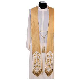 Casula colore oro IHS con croce lana e lurex s6