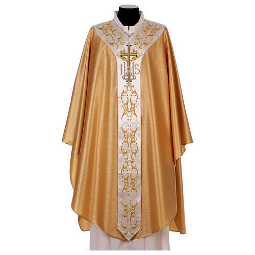 Casula colore oro IHS con croce lana e lurex 1