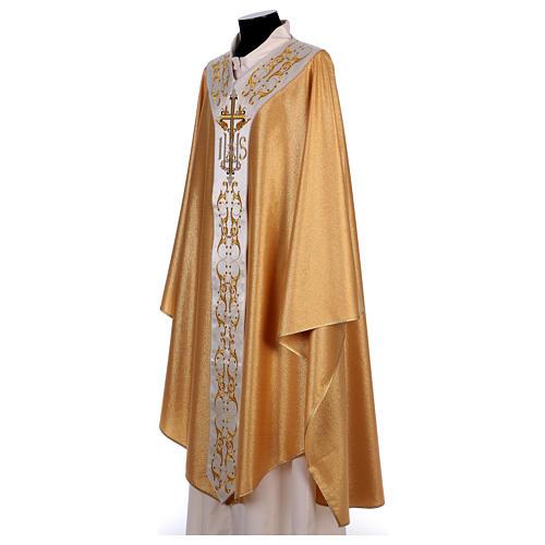 Casula colore oro IHS con croce lana e lurex 3