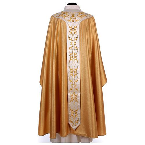 Casula colore oro IHS con croce lana e lurex 4