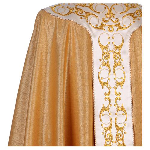 Casula colore oro IHS con croce lana e lurex 5