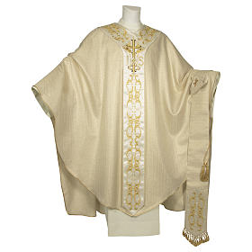 Catholic Chasuble in 90% wool 10% lurex with Cross and decorations s1