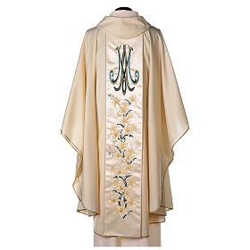 Casulla con virgen y flores pura lana virgen y lurex s5