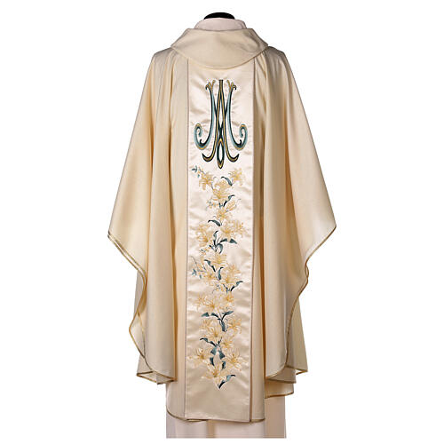 Casulla con virgen y flores pura lana virgen y lurex 5