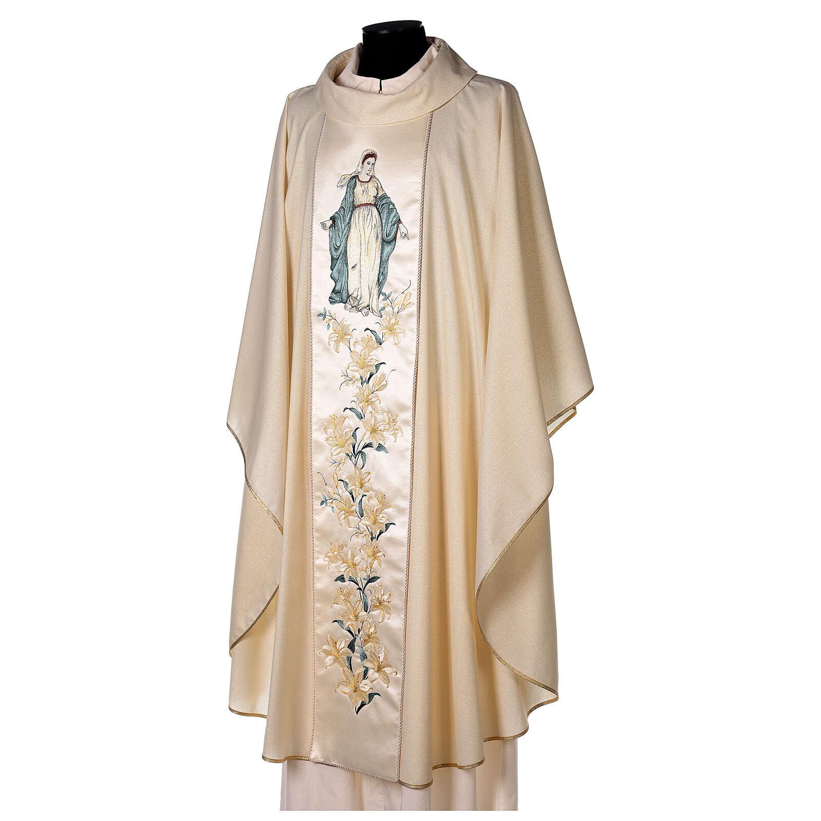 Chasuble avec Vierge et fleurs pure laine vierge et lurex 4