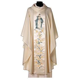 Chasuble avec Vierge et fleurs pure laine vierge et lurex s1