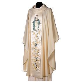 Chasuble avec Vierge et fleurs pure laine vierge et lurex s3