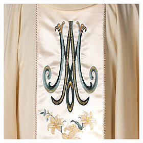 Chasuble avec Vierge et fleurs pure laine vierge et lurex s4