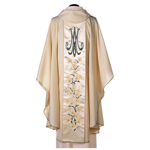 Chasuble avec Vierge et fleurs pure laine vierge et lurex 5
