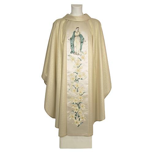 Casula con madonna e fiori pura lana vergine e lurex 1