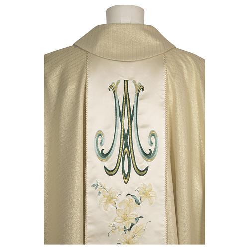 Casula con madonna e fiori pura lana vergine e lurex 3
