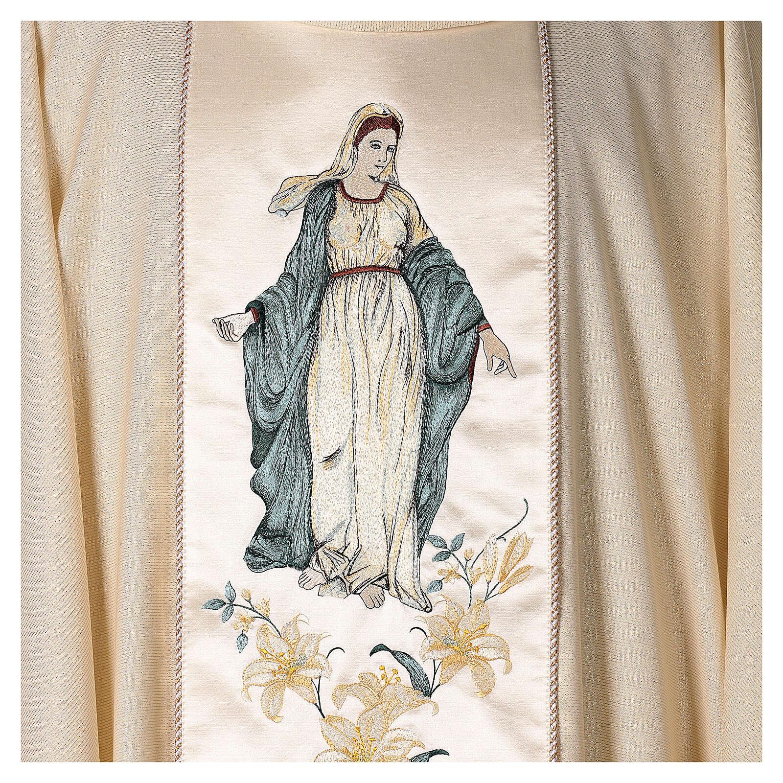 Ornat z Madonną i kwiatami czysta wełna dziewicza i lureks 4