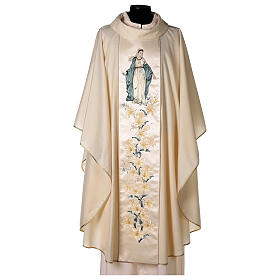 Priest Chasuble in wool and lurex Madonna and Flowers s1