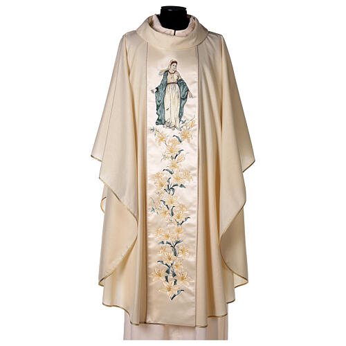 Priest Chasuble in wool and lurex Madonna and Flowers 1