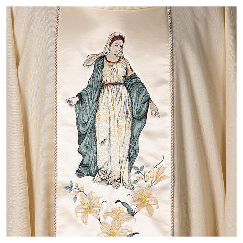 Priest Chasuble in wool and lurex Madonna and Flowers 2