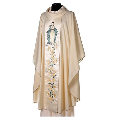 Priest Chasuble in wool and lurex Madonna and Flowers 3