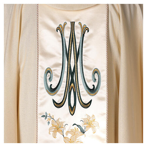 Priest Chasuble in wool and lurex Madonna and Flowers 4