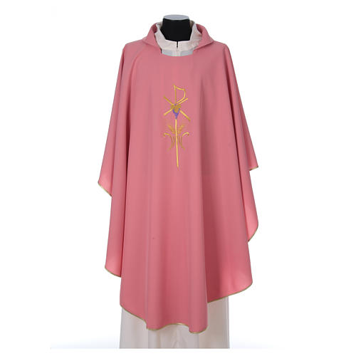 Chasuble in polyester with cross wheat and grapes, pink 1