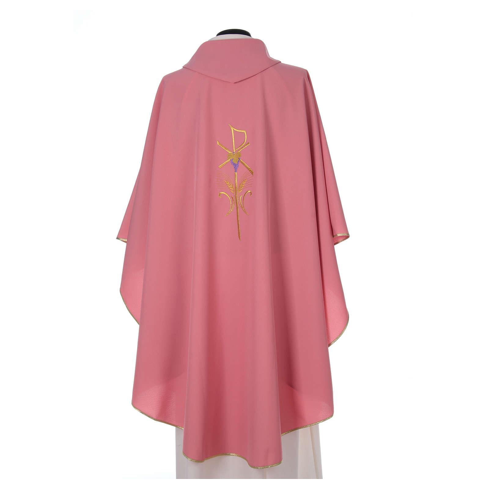 Casula sacerdotale 100% poliestere con spighe croce uva rosa 4