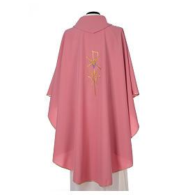 Casula sacerdotale 100% poliestere con spighe croce uva rosa s2