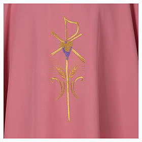 Casula sacerdotale 100% poliestere con spighe croce uva rosa s4