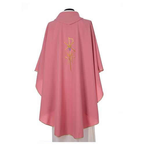 Casula sacerdotale 100% poliestere con spighe croce uva rosa 2