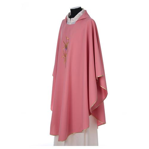 Casula sacerdotale 100% poliestere con spighe croce uva rosa 3