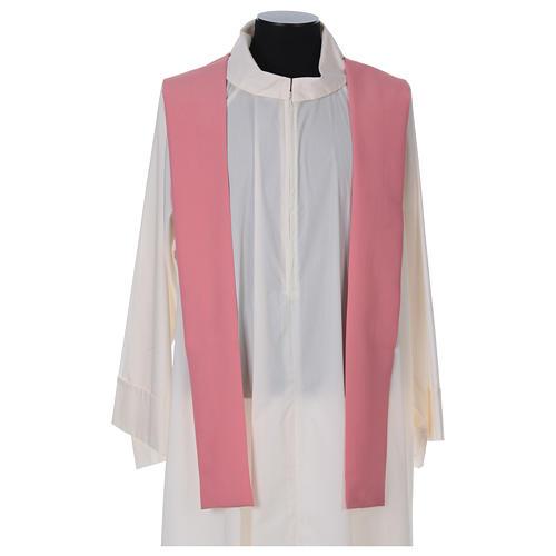 Casula sacerdotale 100% poliestere con spighe croce uva rosa 5