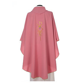 Pink Catholic Priest Chasuble with cross wheat and grapes in polyester s2