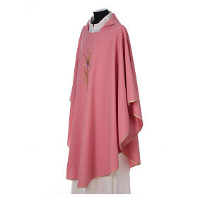 Pink Catholic Priest Chasuble with cross wheat and grapes in polyester s3