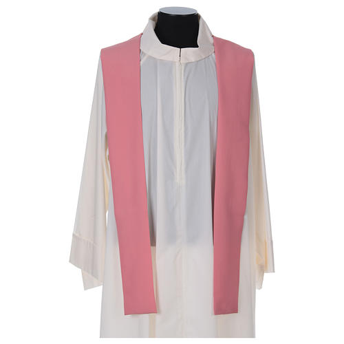 Pink Catholic Priest Chasuble with cross wheat and grapes in polyester 5