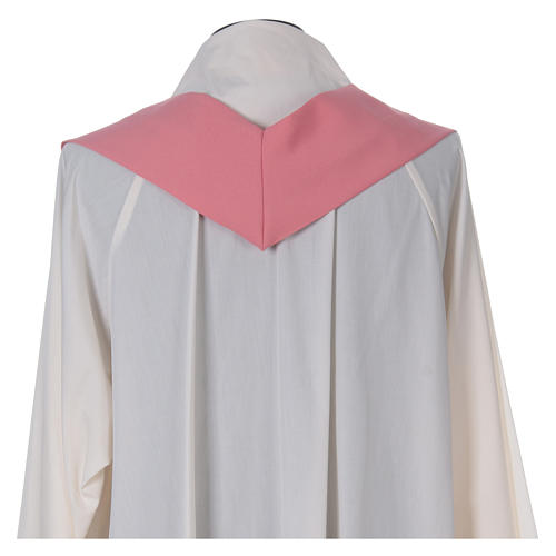 Pink Catholic Priest Chasuble with cross wheat and grapes in polyester 6