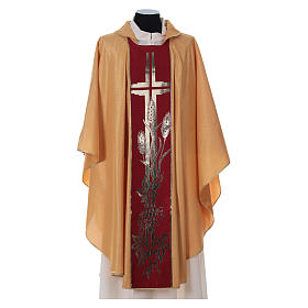 STOCK golden chasuble made of golden fabric and faille 50% wool SMALL DEFECT s1