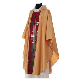 STOCK golden chasuble made of golden fabric and faille 50% wool SMALL DEFECT s3
