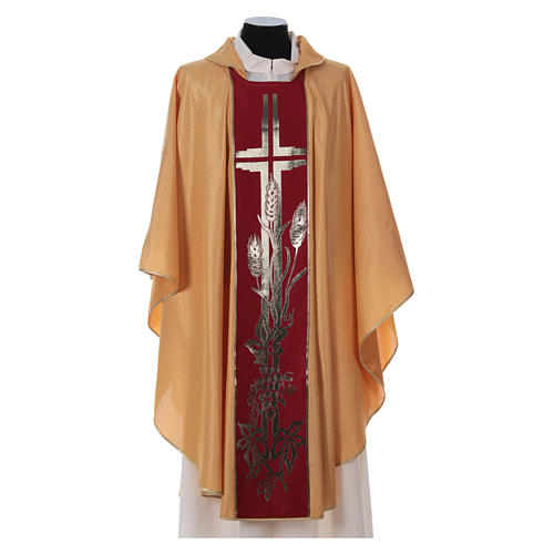 STOCK golden chasuble made of golden fabric and faille 50% wool SMALL DEFECT 1