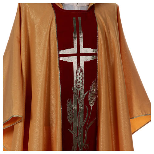 STOCK golden chasuble made of golden fabric and faille 50% wool SMALL DEFECT 4