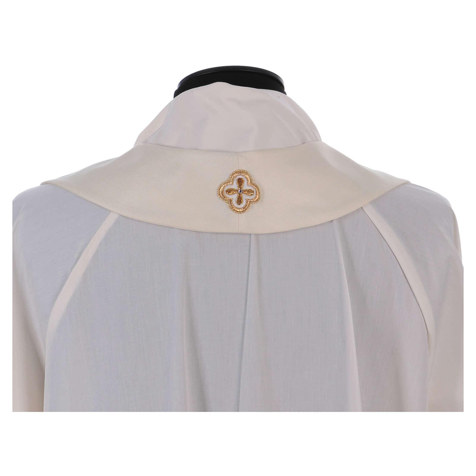 Casula bianca ricamata a mano seta e lana Monastero Montesole 4