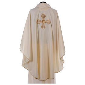 Casula bianca ricamata a mano seta e lana Monastero Montesole s3
