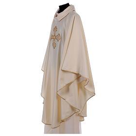 Casula bianca ricamata a mano seta e lana Monastero Montesole s4