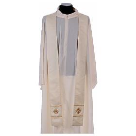 Casula bianca ricamata a mano seta e lana Monastero Montesole s5