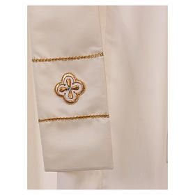 Casula bianca ricamata a mano seta e lana Monastero Montesole s6