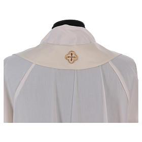 Casula bianca ricamata a mano seta e lana Monastero Montesole s7