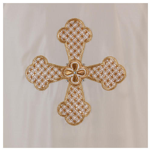 Casula bianca ricamata a mano seta e lana Monastero Montesole 2