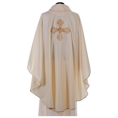 Casula bianca ricamata a mano seta e lana Monastero Montesole 3