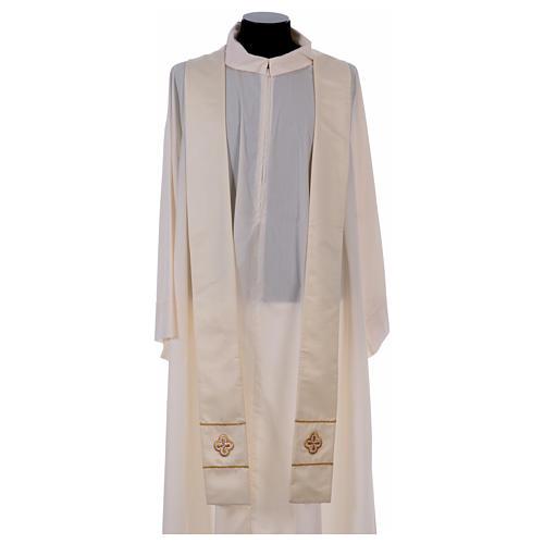 Casula bianca ricamata a mano seta e lana Monastero Montesole 5