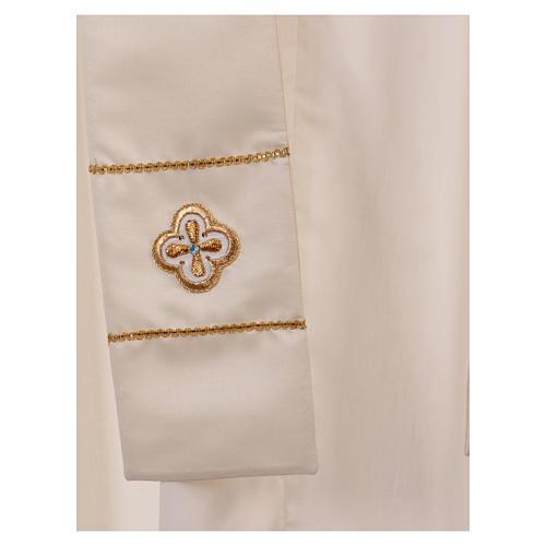 Casula bianca ricamata a mano seta e lana Monastero Montesole 6