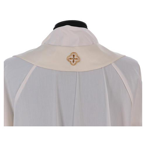 Casula bianca ricamata a mano seta e lana Monastero Montesole 7