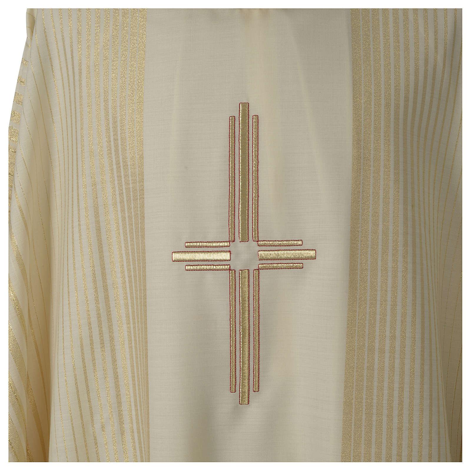Kasel gesteifte Wolle und Lurex mit Kreuz 4